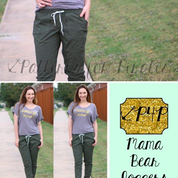 Mama Bear Joggers-PDF sewing pattern for joggers, sweatpants, sweats, jogger, family, matching, mommy and me, pjs, pajamas, pants shorts, womens, mens, plus size, baby,  youth, kids, teens- Patterns for Pirates, P4P