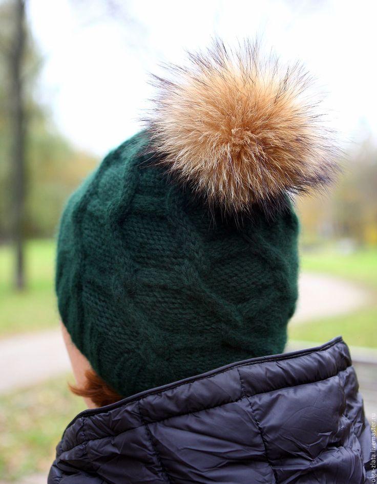 Купить Шапка вязаная араны с помпоном енот - тёмно-зелёный, орнамент, шапка вязаная