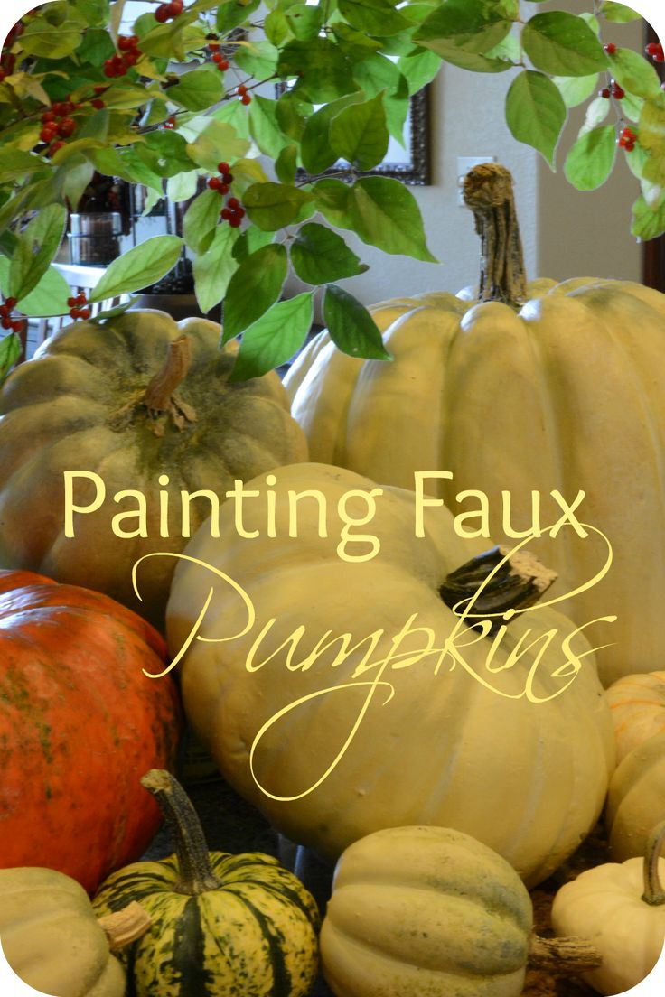 Can you guess the which pumpkins are the faux pumpkins in today's post? I had a great time this past weekend painting faux pumpkins for the fall season.