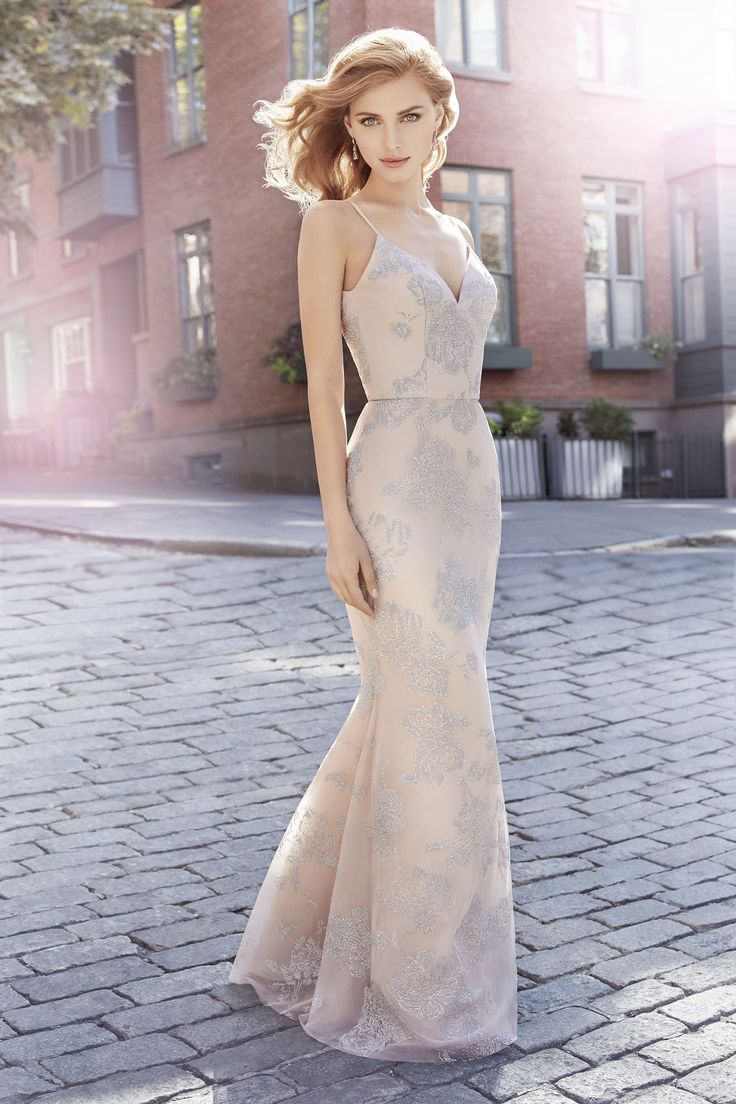 Hayley Paige Occasions Style 5717 | Almond caviar modified A-line bridesmaid gown, curved V-neckline, natural waist.