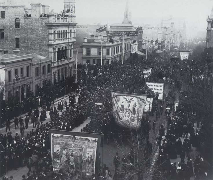 1880 International Exhibition opening day parade, east end of Collins Street, Melbourne, Australia
