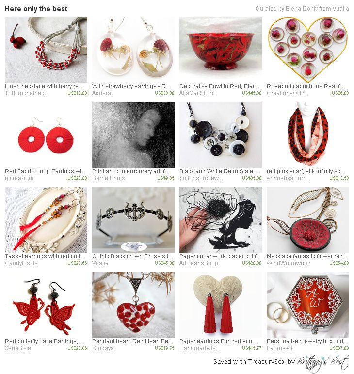 https://www.etsy.com/treasury/NzYzOTYxOTR8MjcyODU2Mjk2Mg/here-only-the-best #giftsforher #redearrings #collectionearrings #redjewelry #blackcrown #gothiccrown #blacknecklace #paperart #wallart