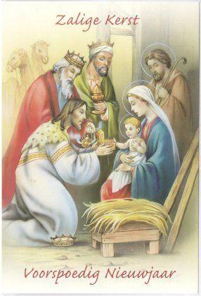 Zalige kerst - Voorspoedig Nieuwjaar!    kerstkaart met Kindje Jezus, Maria, Jozef en de drie koningen