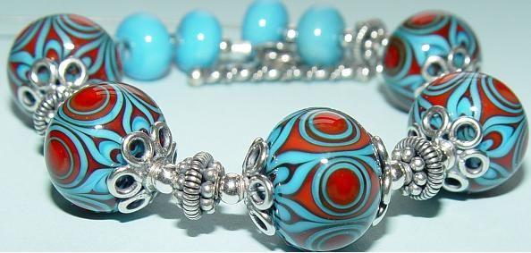 SandyQ Love the aqua and red!   Lampwork Beads   Pinterest Cheryl Coletti