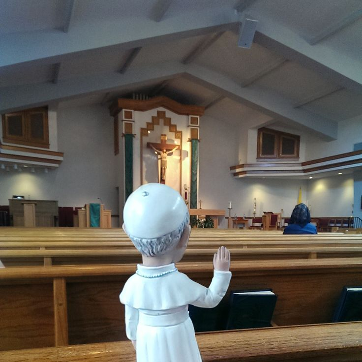 Pope Francis bobblehead statue at Mass!