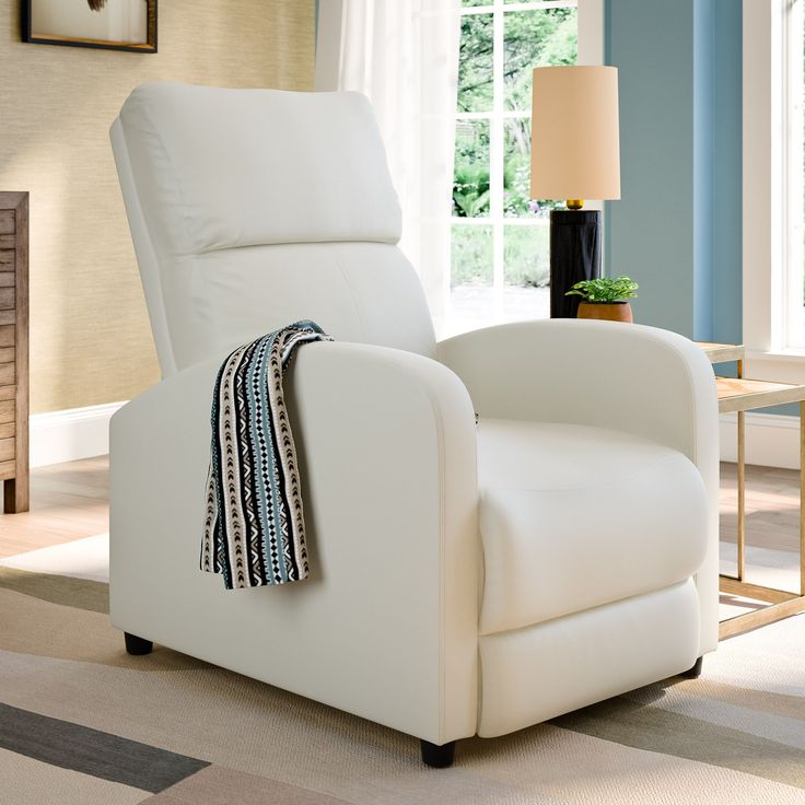 High Quality CorLiving Moor Bonded Leather Contemporary Reclining Armchair (