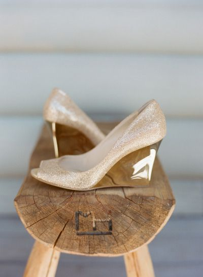 Gold Glittery Wooden Wedges: http://www.stylemepretty.com/2015/06/11/20-chic-shoes-that-wont-sink-in-the-grass/
