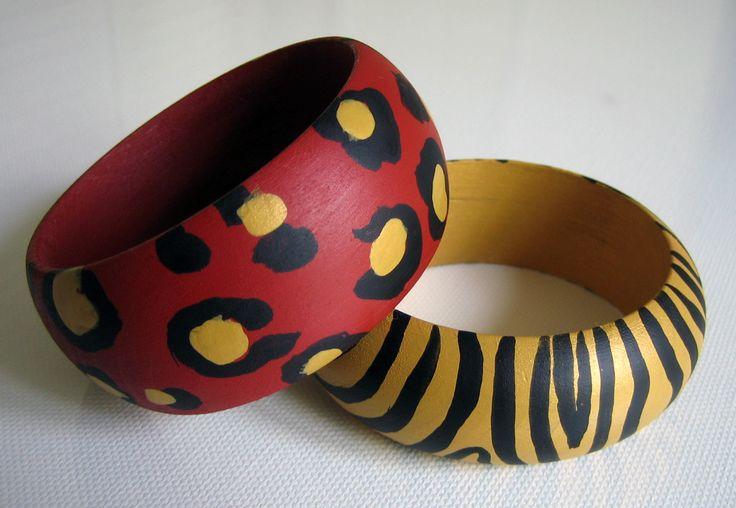 Pulseras LEOPARDO rojo-ancha + CEBRA oro-estrecha