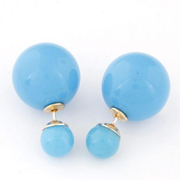 Mint Blue Double Ball Earring Double Ball Color Earrings Stud Earrings - Majesty Case