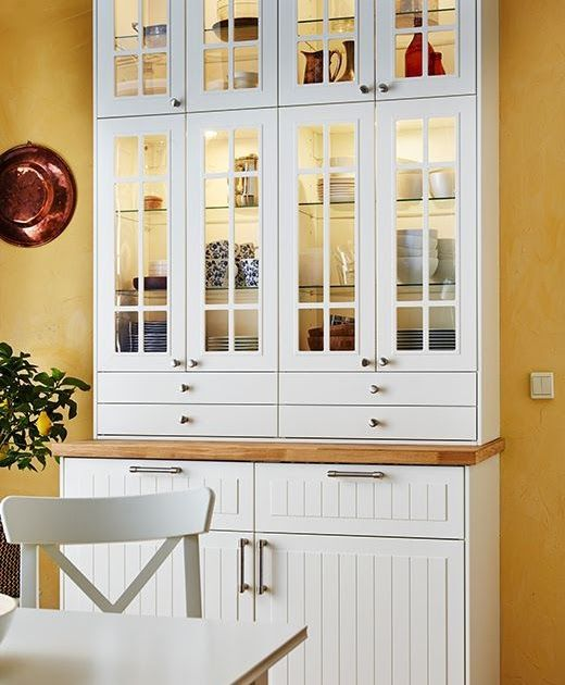 IKEA tall freestanding cabinet in white with part-glazed ...