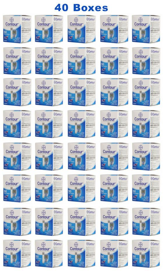 Bayer Contour Test Strips - 2000 Count (40 Boxes of 50)