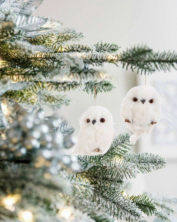 White Snowy Owl Christmas Ornaments | Rustic Woodland Holiday Ornament |  Furry White Animal | Holiday - White Snowy Owl Christmas Ornaments Rustic Woodland Holiday