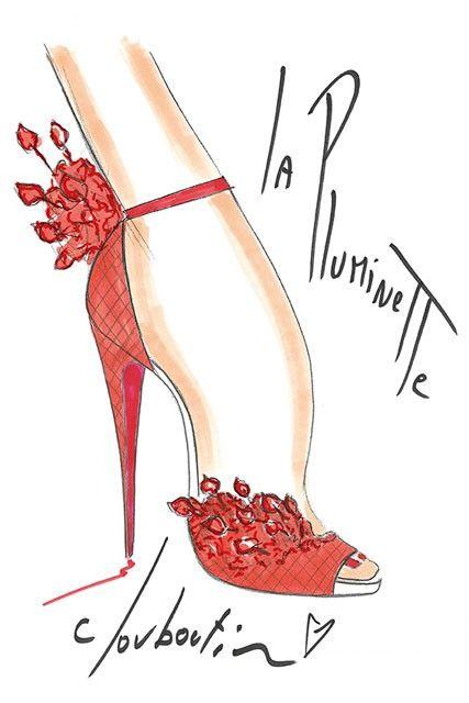 La Pluminette by Christian Louboutin: Shoes, Fashionsketch, Fashion Sketches, Fashion Art, Louboutin Sketch, Christian Louboutin, La Pluminette, Fashion Illustrations, Christianlouboutin