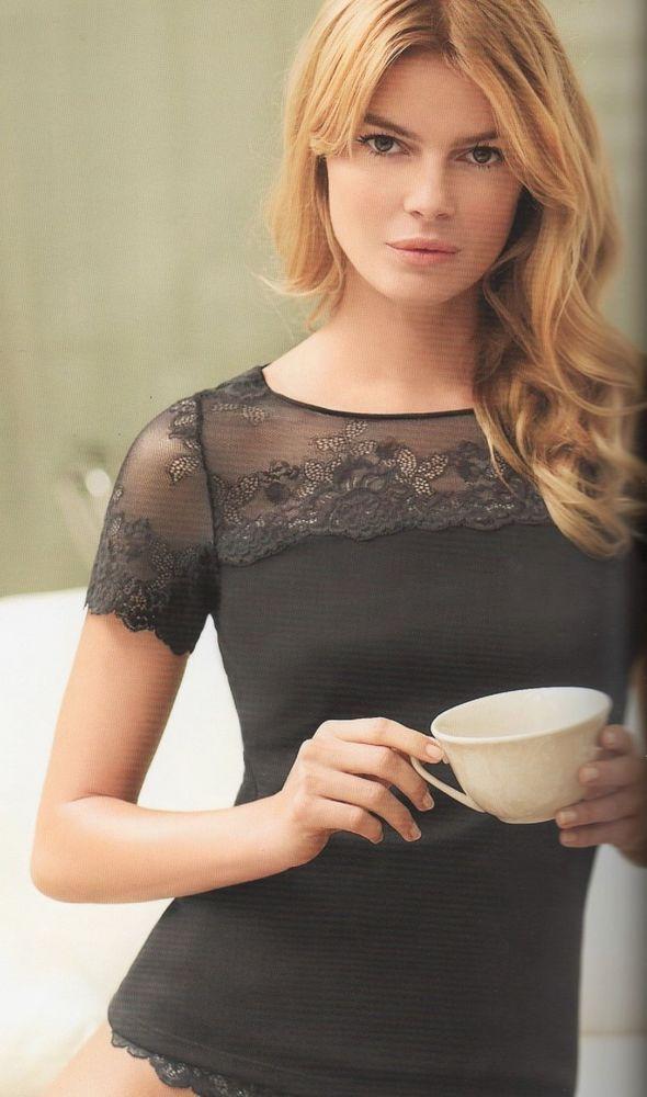 Janira Maglia Pizzo e tulle nero o bianco maniche corte elegante chic M L