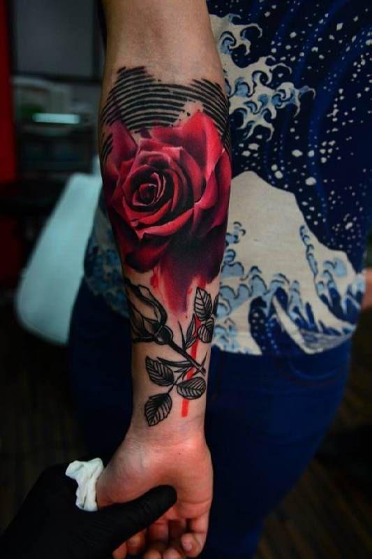 Red Rose 3D Armtattoo #Tattoo, #Tattooed, #Tattoos