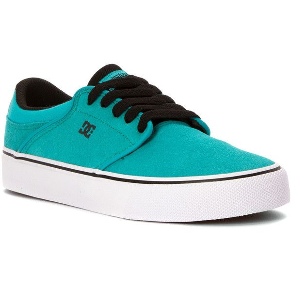 DC Women's Mikey Taylor VULC Athletic ($61) ❤ liked on Polyvore featuring shoes, teal, lacy shoes, dc shoes footwear, teal shoes, lace shoes and dc shoes