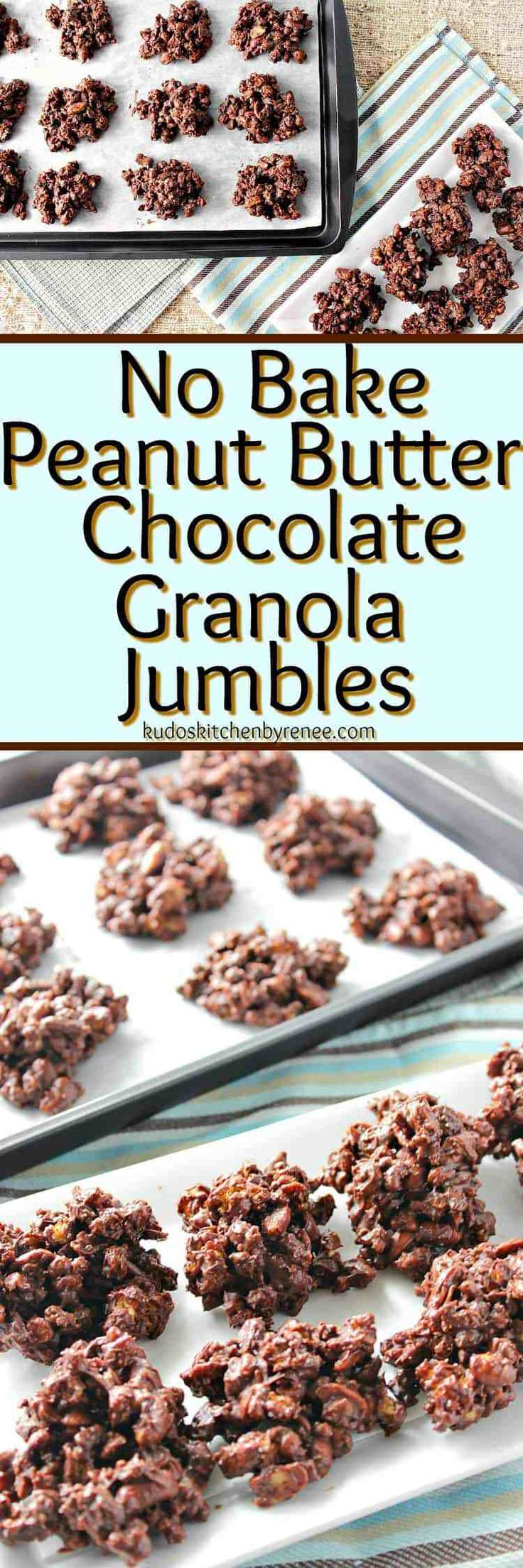 No Bake Peanut Butter & Chocolate Granola Jumbles Candy Recipe - Kudos Kitchen by Renee #peanutbutterchocolate #candy #chocolatecandy #chocolate #nobake #peanutbutter #granola #raisins #peanuts #glutenfreedessert