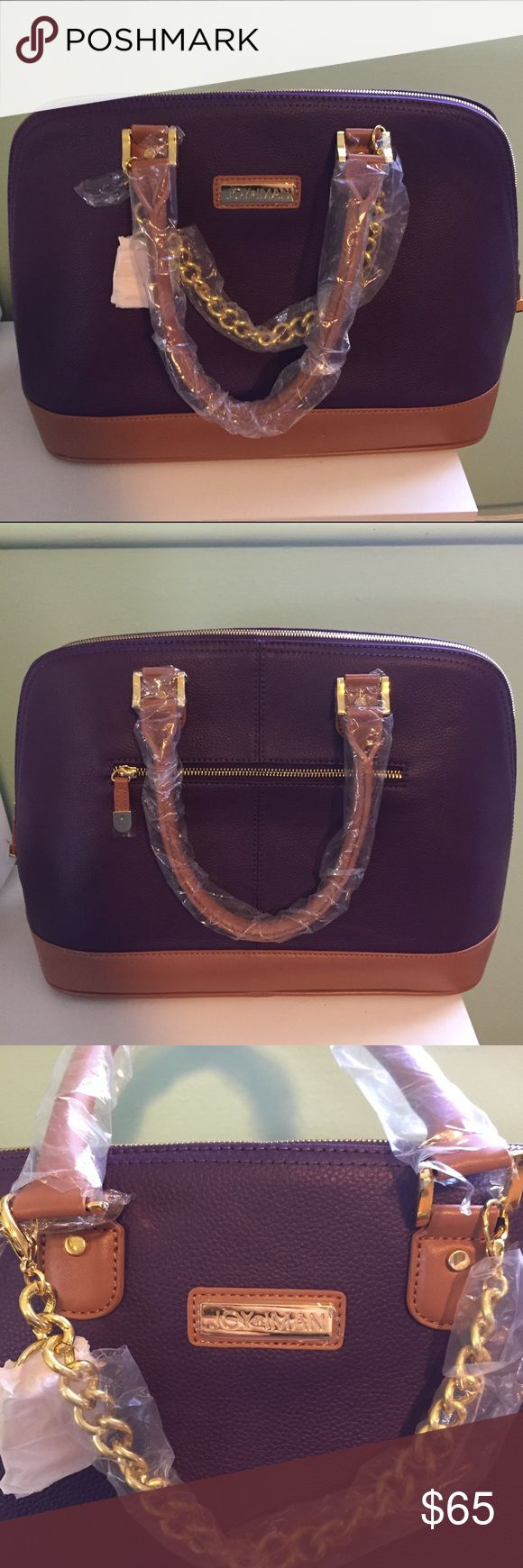 "NWOT Large Purple Purse Brand new beautiful bag from HSN (designed by Joy Mangano). It's very sturdy and perfect to hold everything you need. Over 10 different pockets inside to store essentials including credit card slots and a pen pocket as well as a few zippered pockets. There is a small watch charm on the gold chain on the exterior of the bag. All hardware is gold. Dimensions are: 11""H x 15""W x 7""D Joy and Iman Bags Satchels"
