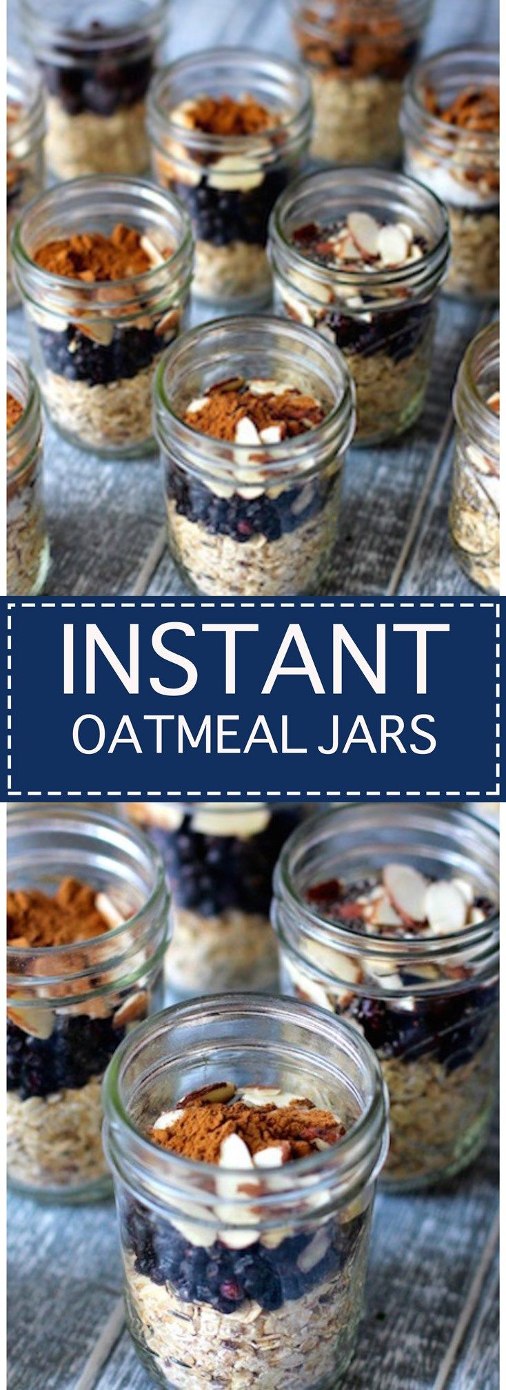 Store bought oatmeal packets are full of sugar and additives. Make your own instant oatmeal jars instead! Simple. Customizable. Yummy!