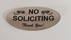 a adhesive no soliciting signs brushed gold or brushed silver rowmark material
