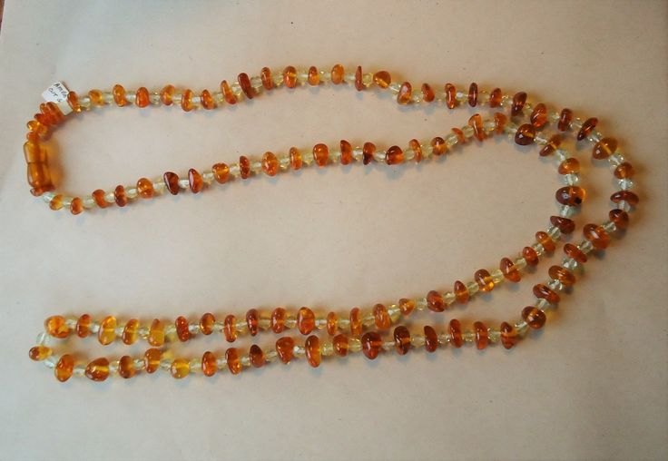 Long String of Amber & Glass Beads