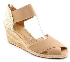 Andre Assous Erika Women Open Toe Canvas Beige Wedge Sandal.