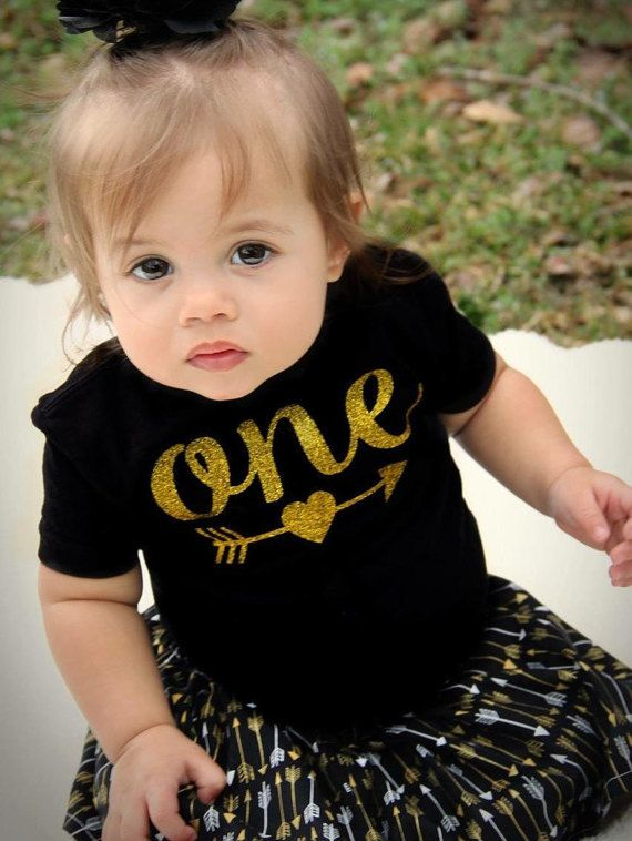 1st Birthday Outfit Girl 2nd Birthday Outfit Girl Gold Arrow Shirt Black Arrow Skirt Baby Girls First Birthday Outfit Black Arrow Shirt