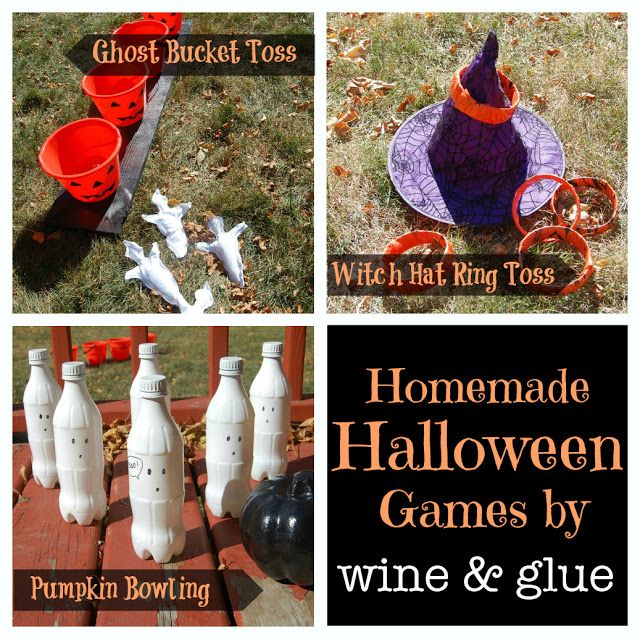 Three different Homemade Halloween Games all made for under $13! via www.wineandglue.com