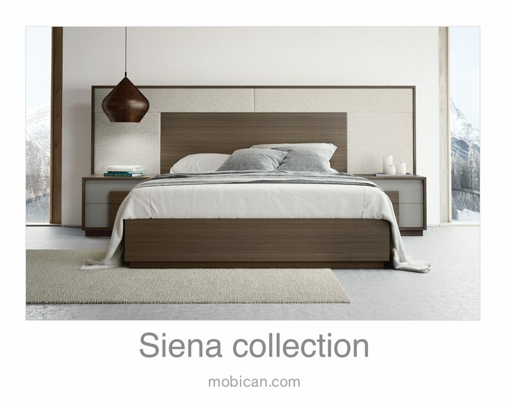 Click here to see Mobican's Siena bed | Cliquez ici pour voir le lit Siena de Mobican: http://mobican.com/en/siena/ #mobican #HPMKT #bed #bedroom #wood #madeincanada #upholstered #contemporary #furniture #nighttable