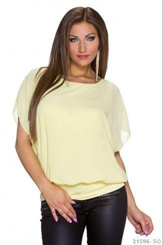 Σιφόν μπλούζα με μανίκια νυχτερίδας - Κίτρινο