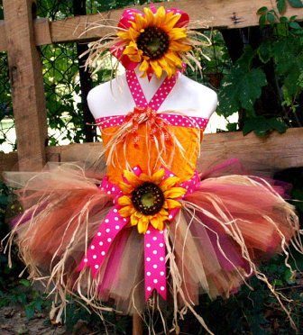 Fall Sunflower Scarecrow Tutu Costume Outfit Set