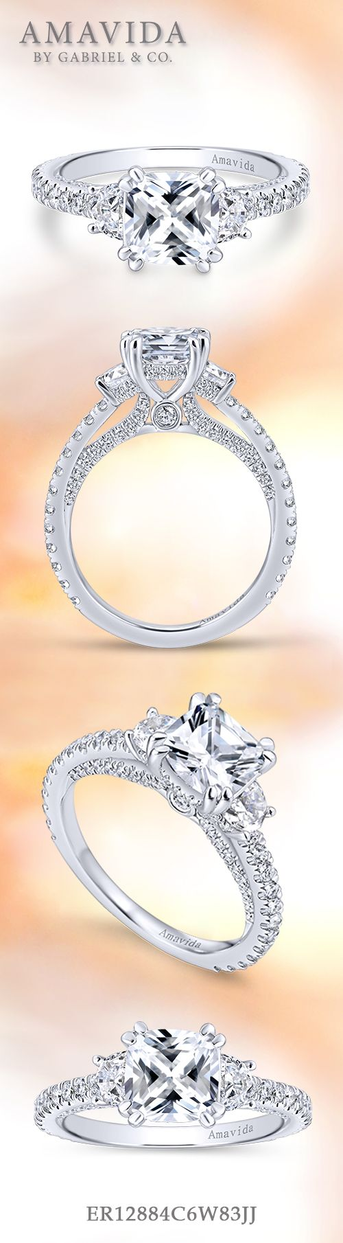 Amavida by Gabriel & Co. - Voted #1 Most Preferred Bridal Brand.   A stunning three stone cushion cut engagement ring with a secure double-prong setting.