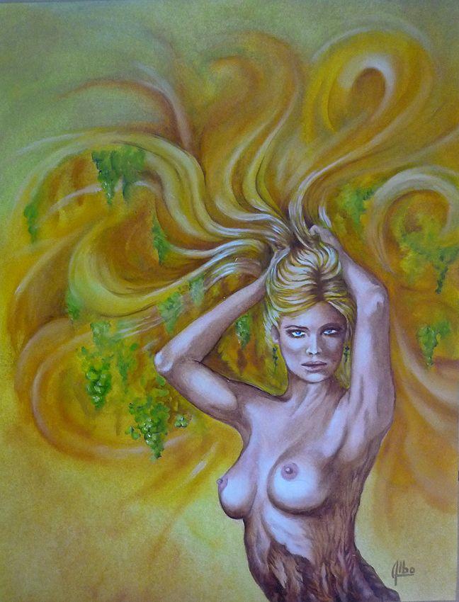 """"""" vigne blonde """" huile sur papier https://www.facebook.com/albo.arts"""