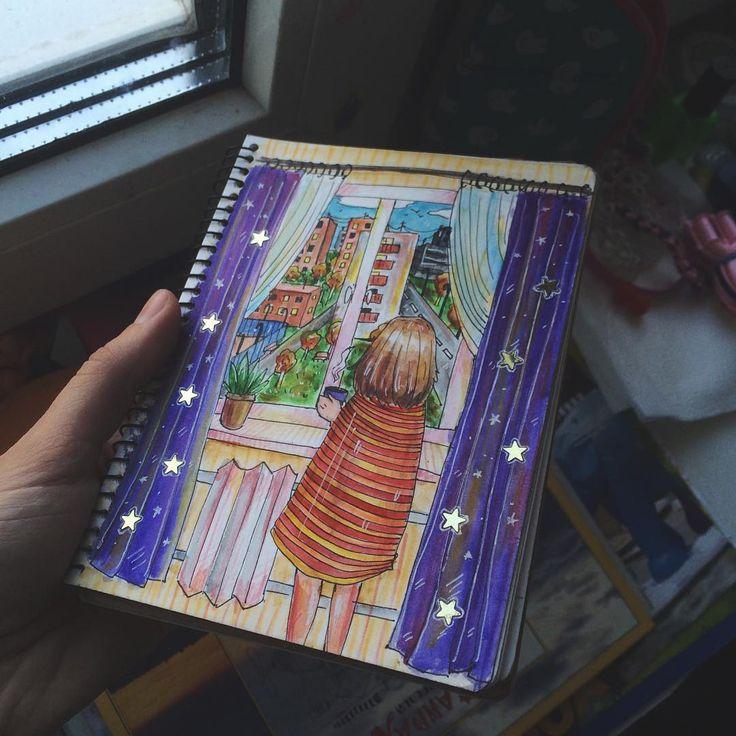 Когда-нибудь я перестану опаздывать и буду рисовать все вовремя🍳 #30piecesofautumn - 'вид из окна'