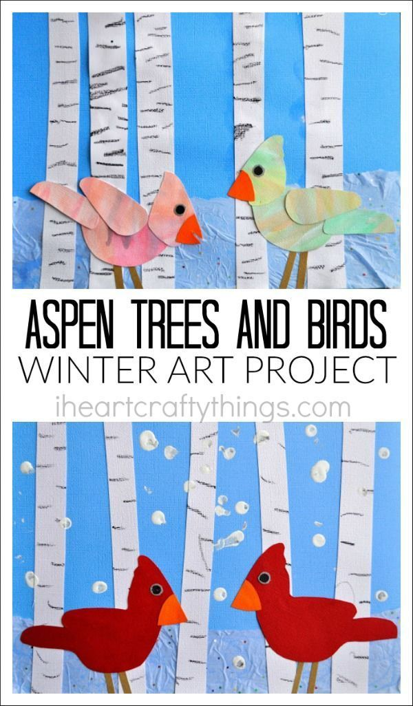 Aspen Tree and Birds Winter Art Project | I Heart Crafty Things
