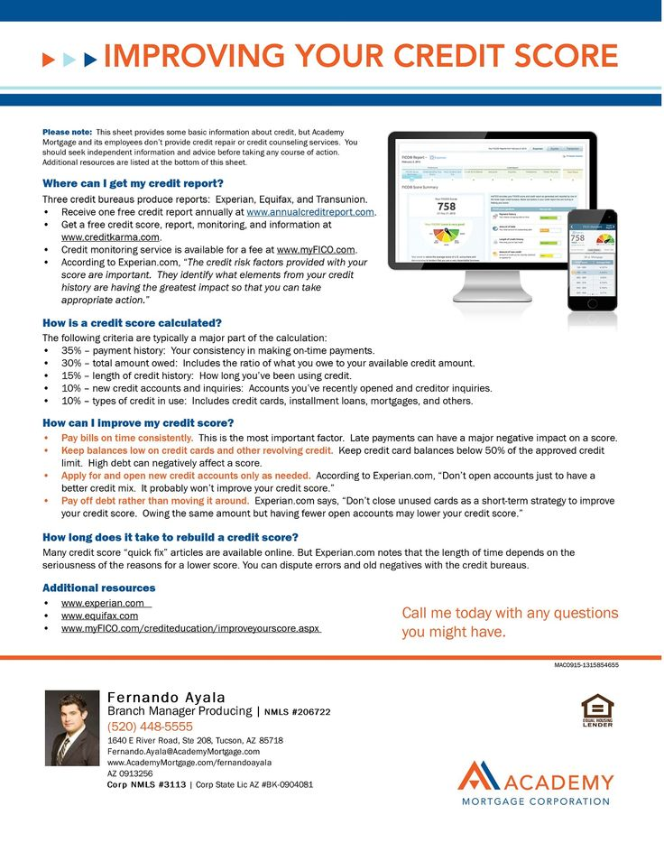 Improving Your Credit Score Homebuyer Education Flyers