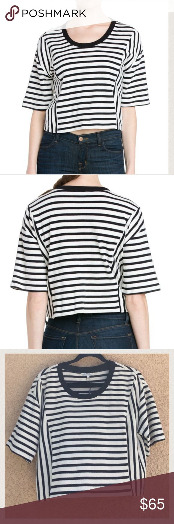 "Rebecca Minkoff Oasis Top Black and cream striped knit top with elbow length sleeves.  21"" arm pit to arm pit 19.5"" long   Trades✅Bundle to save Rebecca Minkoff Tops Crop Tops"