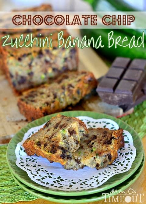 Chocolate Chip Zucchini Banana Bread is so incredibly moist and delicious and just perfectly sweet!