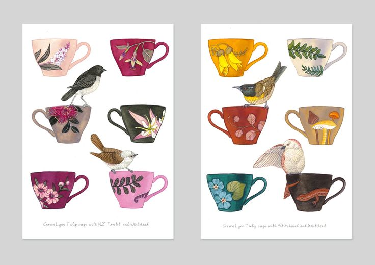 Crown Lynn tulip cups with NZ flora and fauna by Henri Stone. Cards published by Live Wires NZ Ltd.