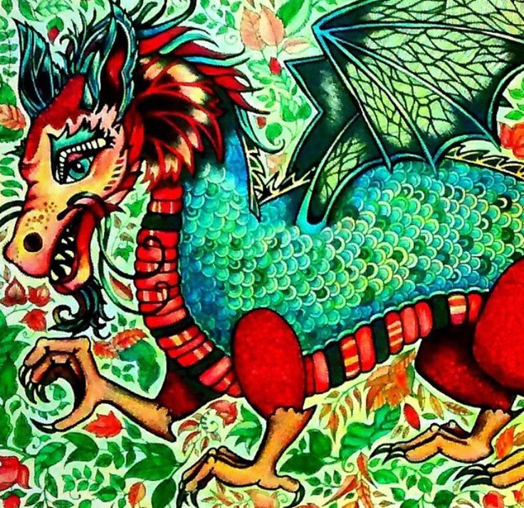 Dragon Enchanted Forest Dragao Floresta Encantada Johanna Basford Adult ColoringColoring BooksJohanna