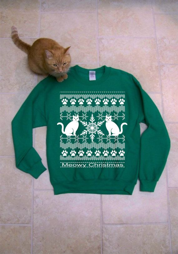 Meowy Christmas  Ugly Christmas Sweater funny sweatshirt by RCTees