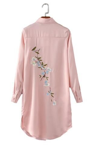 Specifications: Gender:Women Decoration:Embroidery Style:Fashion Clothing Length:Long Sleeve Length:Full Pattern Type:Floral Collar:Turn-down Collar Fabric Type:Satin Sleeve Style:Regular Material:Pol