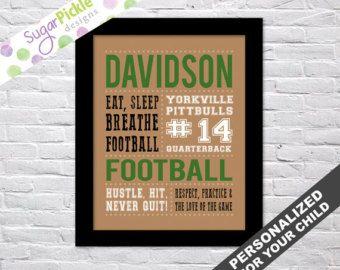 Football Print, Football art, Football Stats Art, Football Wall Art, Football printables, Team Gift, Personalized Football Subway Art, by sugarpickledesigns. Explore more products on http://sugarpickledesigns.etsy.com