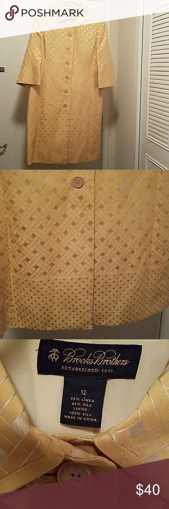 Brooks Brother gold coat Brooks Brother gold coat with basket weave design, lined. This can be worn in the office like blazer For someone tall. I bought it on Brooks Brother online but coat is too long for me 5' Brooks Brothers Jackets & Coats Blazers