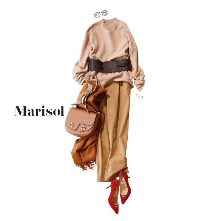 ベージュグラデのワントーンコーデに女っぷり度高めの赤を挿して【2017/11/17コーデ】Marisol ONLINE|女っぷり上々!40代をもっとキレイに。