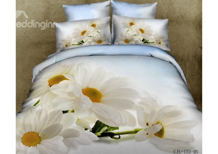 New Arrival 100% Cotton White Sunflower 3D Printed 4 Piece Bedding Sets/Duvet Cover Sets