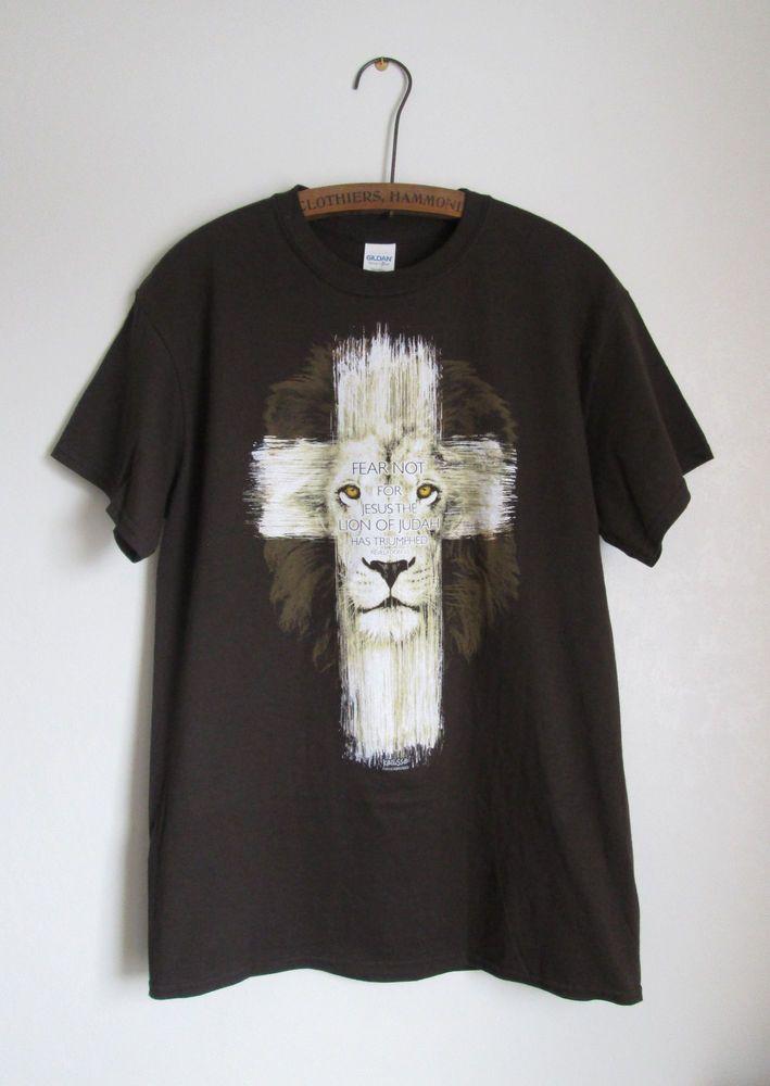 Kerusso Lion Cross Revelation 5:5 Religious Cotton T-Shirt Size Medium NWT  #Gildan #GraphicTee