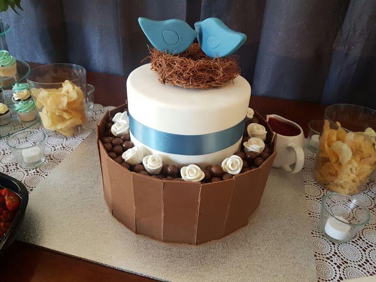 Lovebird chocolate engagement cake