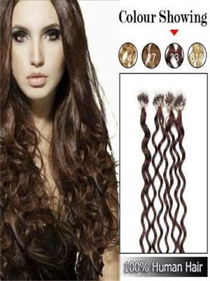 Cheap Human hair extensions 8 - 32 inches brown body wave micro loop ring hair extensions,100% brazilian human hair,top quality,over $268 FREE SHIPPING!