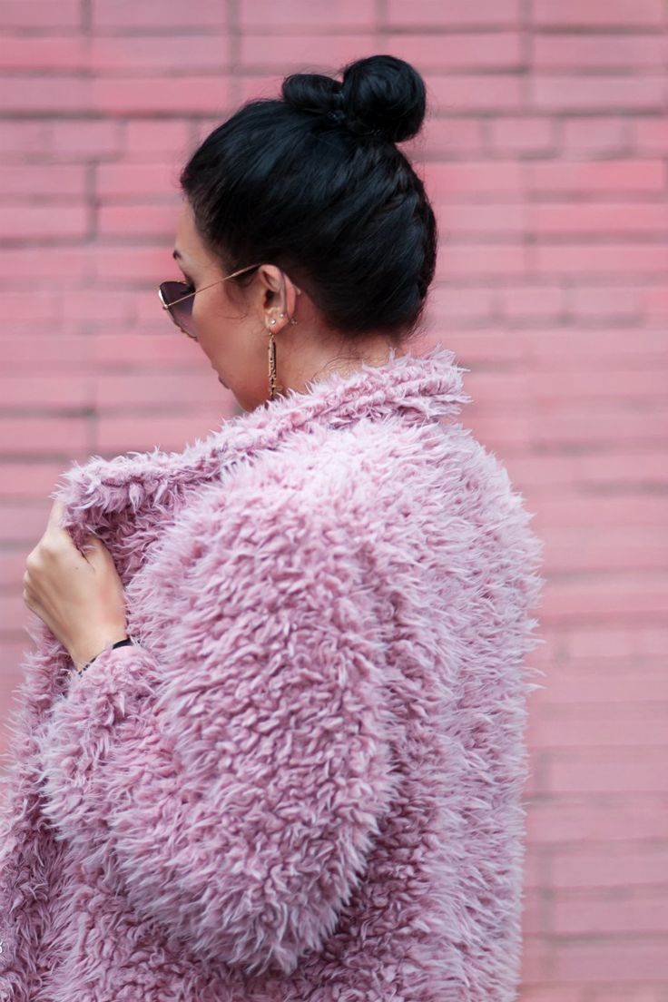 Pink fluffy coat french braid and bun #pink #FrenchBraid #bun
